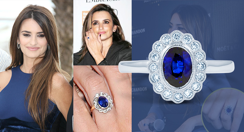 13784bf76 Continuing with the coloured gemstone trend, this Hollywood star wears a  stunning antique sapphire ring that is surrounded by halo of diamonds  creating a ...