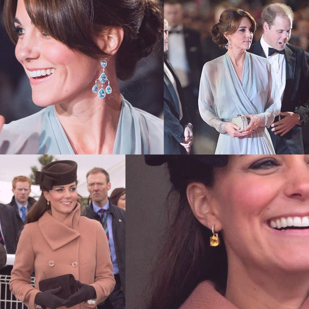 Kate Middleton Blue Topaz Citrine Earrings