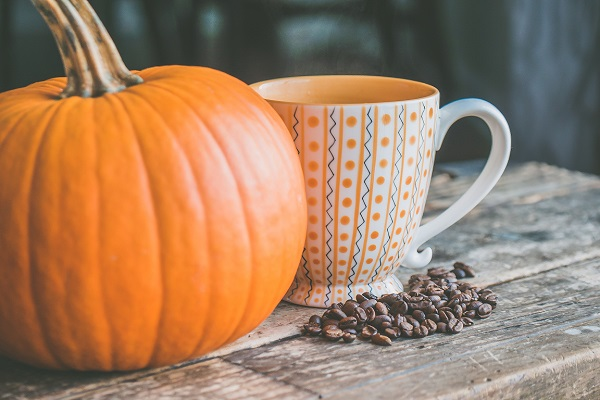 pumpkin next to coffee