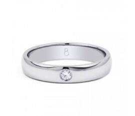 4mm Single Diamond Wedding Band Court