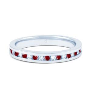 18ct White Gold Ruby & Diamond Eternity Ring