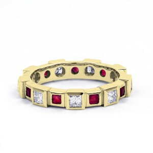 18ct Yellow Gold Ruby & Diamond Designer Full Eternity Ring Band 0.75ct 5mm