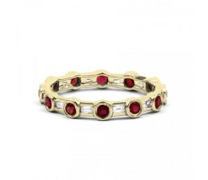 18ct Yellow Gold Ruby & Diamond Full Eternity Ring Band