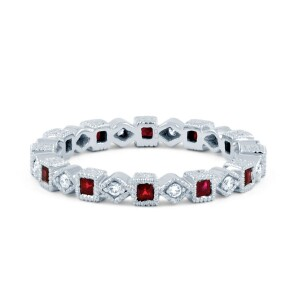 Silver Ruby Eternity Ring