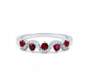 Silver Ruby Half Eternity Ring