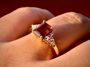Woman Wearing Ruby Engagement Ring