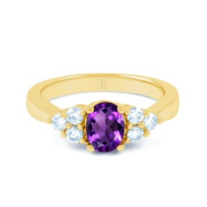 Amethyst Gold Engagement Ring