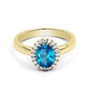 Blue Topaz Halo and Diamond Gold Ring