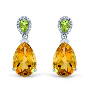multi gem drop earrings