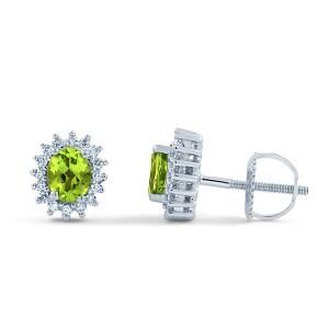 peridot halo stud earrings