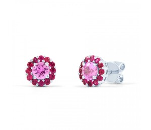 pink sapphire and ruby earrings