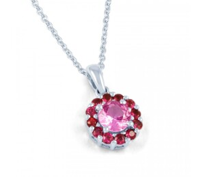 pink sapphire and ruby halo pendant