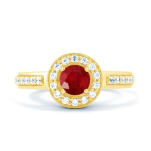 Ruby Cluster Gold Ring