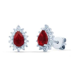 starlight pear ruby stud earrings