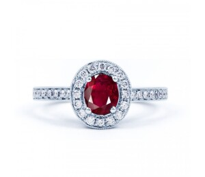 Vintage Ruby Halo Ring