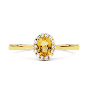 Aya Citrine Diamond Gold Ring