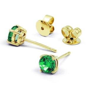 Classic 9ct Yellow Gold Natural Emerald Earrings