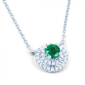 Double Halo Emerald And Diamond Pendant