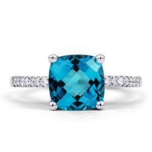 Kei Blue Topaz Diamond Ring